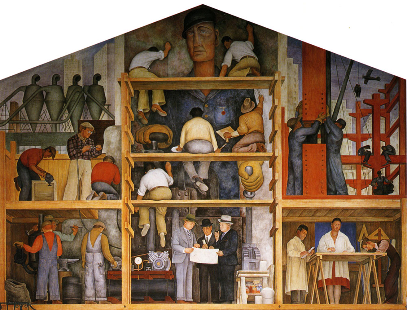 The making of a fresco showing the building of a city for Diego rivera san francisco mural